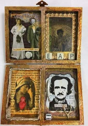 Edgar Allen Poe assemblage box for art newsletter post