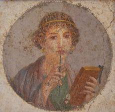 Woman writer Pompeiian fresco, writing coaching with Thea Fiore Bloom