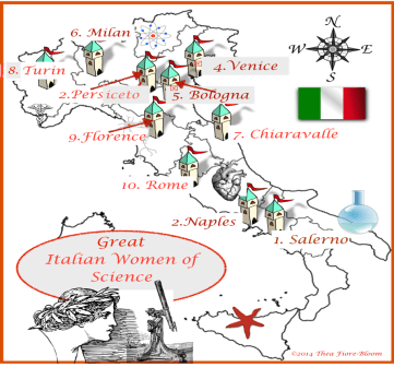 Map of Italian Female Scientists by Thea Fiore-Bloom Bloom