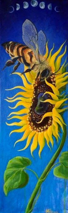 Bee on Sunflower painting for Mistakes Art Bloggers Make post