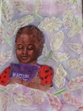 Portrait of young African American woman embracing a book, for Mistakes art bloggers make post