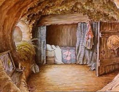 Beatrix Potter illustration of a cozy bed nook