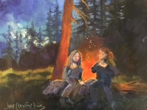 campfire girls painting for art website attraction magnet post