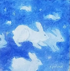 rabbits in clouds painting for for how artists can make more money post