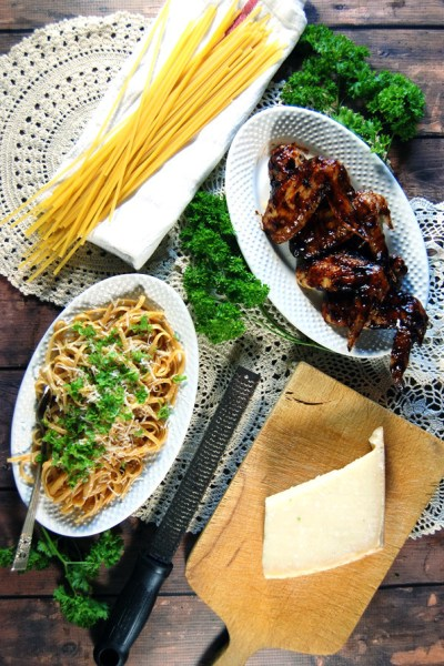 Barbecue Chicken Wings with Pan Sauce and Linguine | The Charming Detroiter