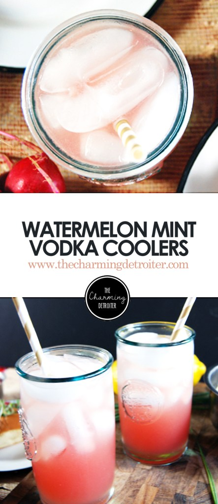 Watermelon Mint Vodka Coolers: Featuring deliciously refreshing watermelon juice paired with mint simple syrup and vodka for a delightful summer cocktail.