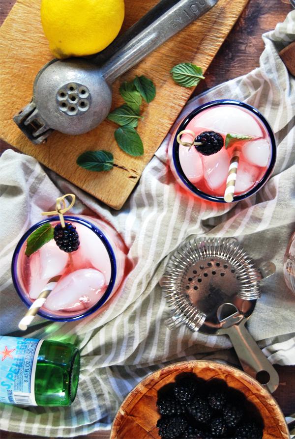 Blackberry Mint Collins with Elderflower Vodka | The Charming Detroiter