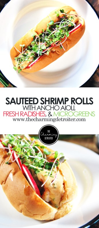 Sautéed Shrimp Rolls: Paired with spicy ancho aioli, fresh radishes, and microgreens.