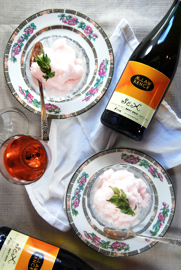 Mint and Sparkling Rosé Sorbet: A light and refreshing sorbet of fruity sparkling rosé paired with fresh mint.