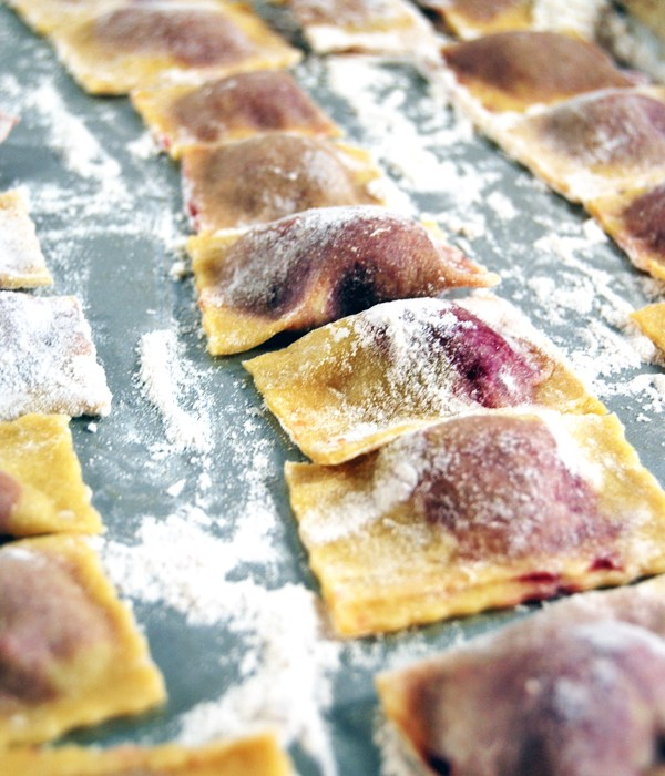 Roasted Beet and Pancetta Agnolotti with Creamy Goat Cheese Sauce and Arugula   The Charming Detroiter