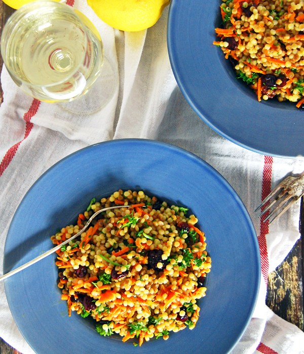 Israeli Couscous Salad with Carrot and Lemon Oregano Vinaigrette: A beautifully simple and rustic couscous salad with carrots, parsley, dried cranberries, and a quick lemon oregano vinaigrette.