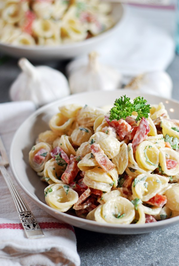 Roasted Garlic Pasta Salad: Tarragon is the star of this creamy pasta salad, which all features roasted garlic and bacon bits.