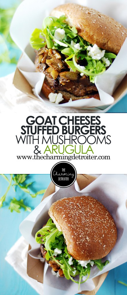 These delicious goat cheese stuffed burgers are topped with sautéed mushrooms, goat cheese, and arugula dressed with balsamic.