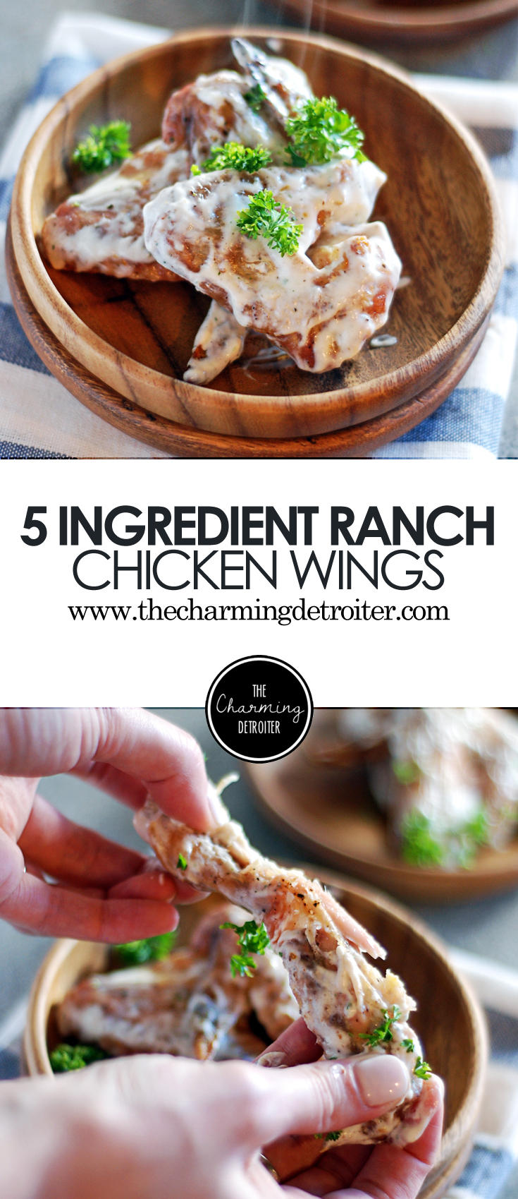 These baked ranch chicken wings are made with just 5 ingredients and come together in just 45 minutes, with a creamy ranch dressing based sauce!