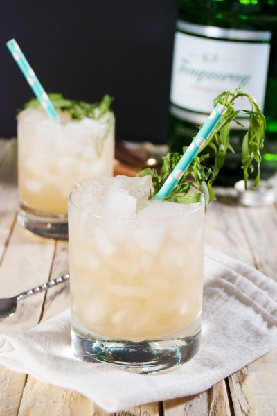 This tasty grapefruit gin cocktail features fresh tarragon, tart grapefruit juice, and gin.