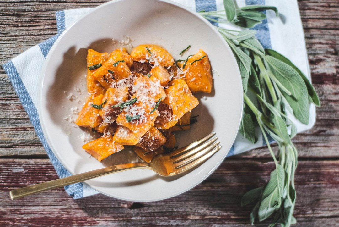 A recipe for simple homemade potato and carrot gnocchi, paired with a classic browned butter and sage sauce.
