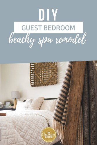 Our guest bedroom remodel turned this drabby boring second bedroom into a beachy, spa-like oasis, while still remaining nice and cozy for the cold Michigan weather!