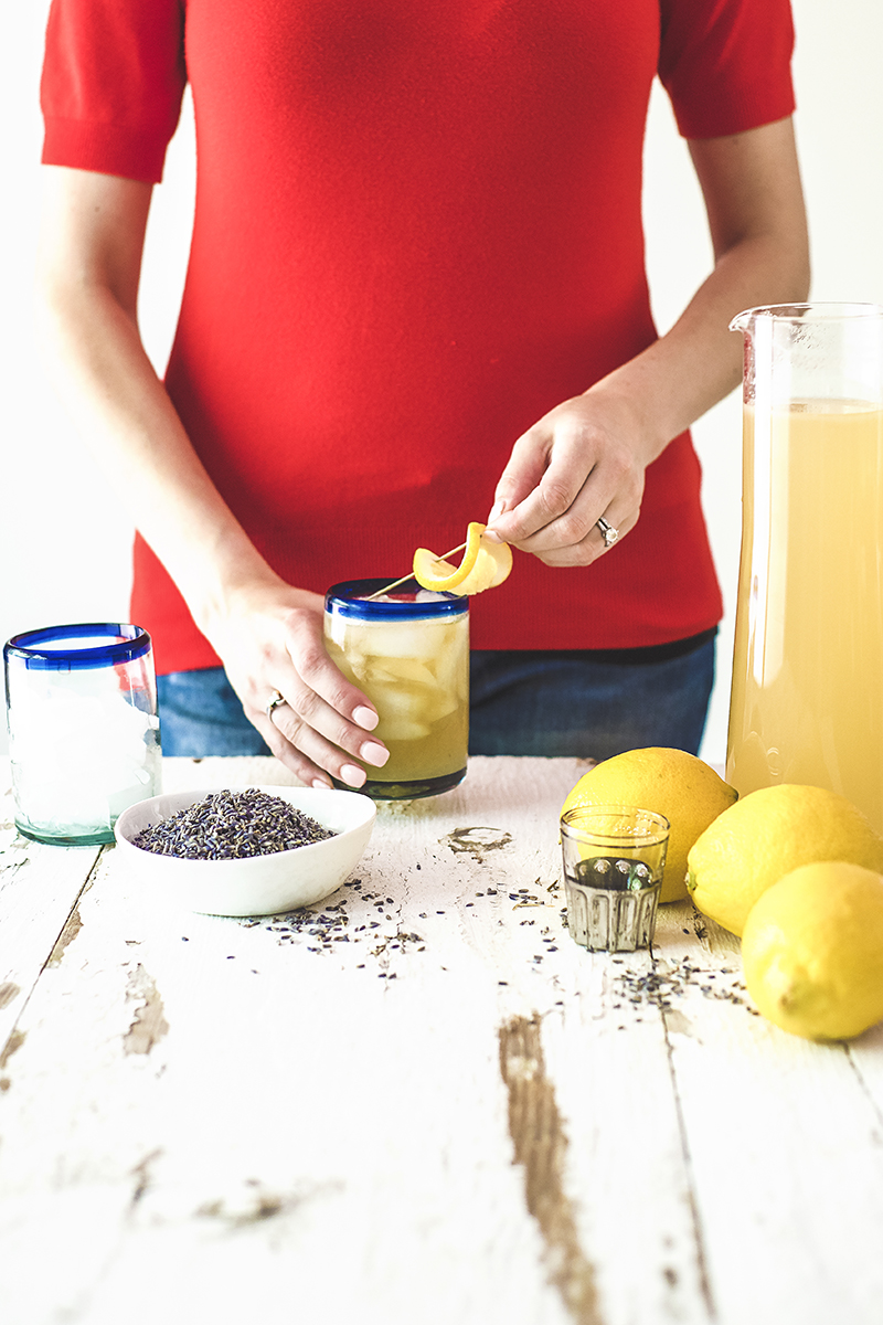 My bourbon lemonade cocktail is made with homemade lemonade, lavender simple syrup, and your favorite bourbon for a deliciously summery cocktail!