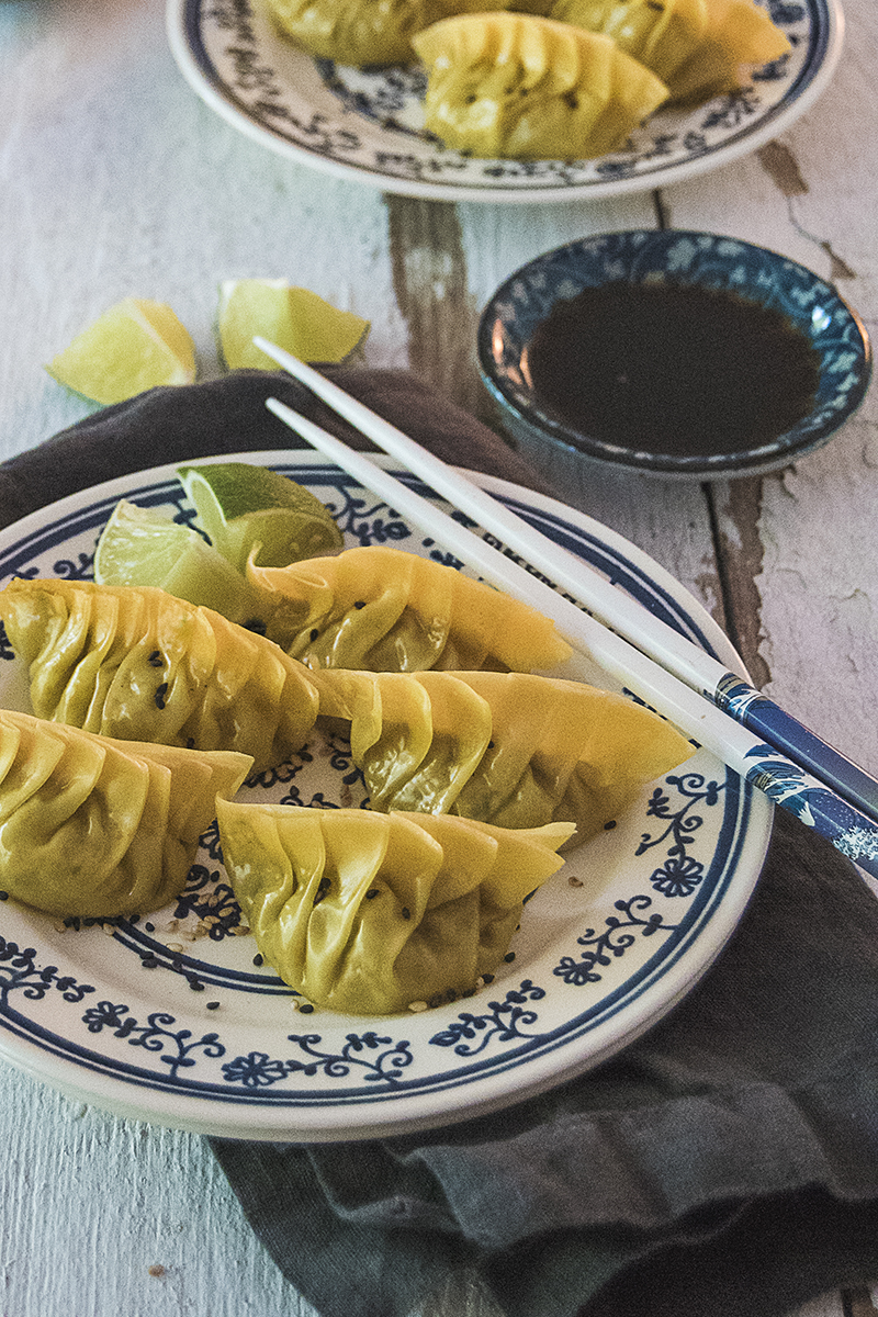 Edamame dumplings are fresh, spicy, and filled with all your favorite Asian flavors, like ginger, white miso paste, gochujang, and sesame oil!