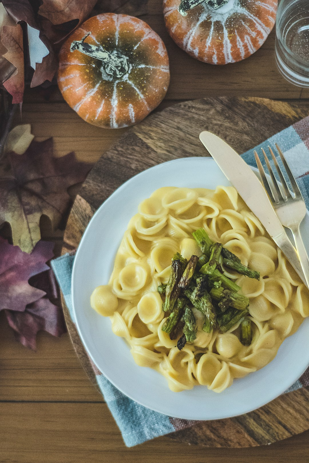 My cheesy orecchiette is just the cheesiest! Featuring both American cheese and Colby jack, it is super creamy and is topped with crunchy roasted asparagus!