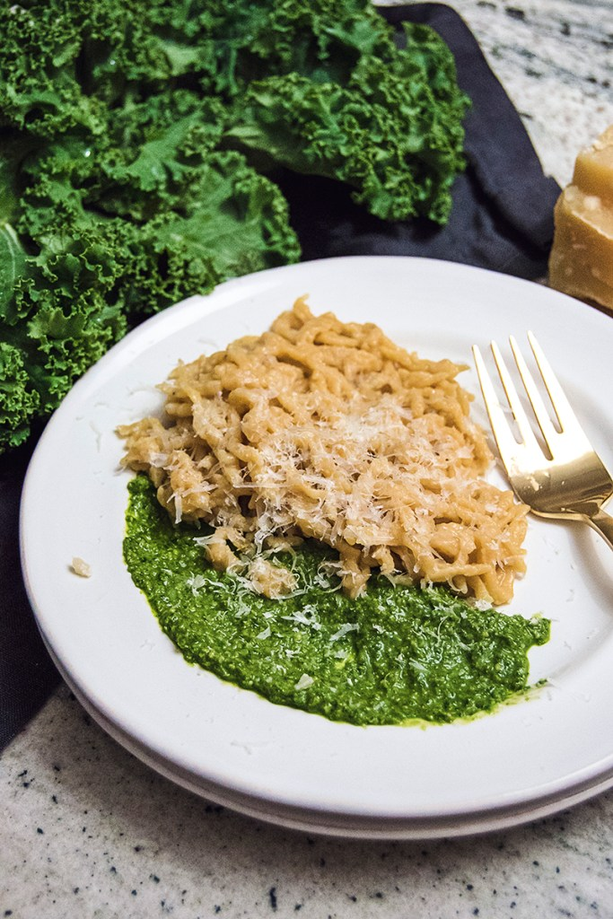 Kale pesto is the perfect sauce to pair with my sweet potato spaetzle. This easy side dish will be your new favorite fall meal!
