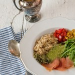 This salmon couscous salad if refreshing and simple to throw together, and features roasted peppers and corn, arugula, and a quick pesto buttermilk dressing.