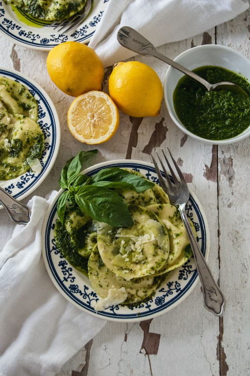 These lemon mascarpone ravioli are perfect for a spring or summer night meal, and pair perfectly with a fresh and simple herb pistou.