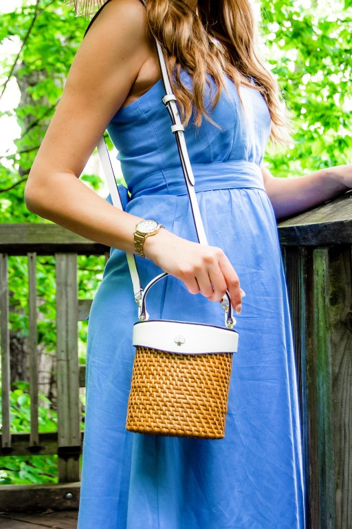 A pretty periwinkle blue sundress is the star in this comfy and stylish summer outfit, complete with my new favorite summer straw hat!