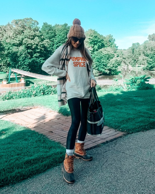 Hello, Fall! I'm sharing my favorite new cozy look: this pumpkin spice sweater that is the perfect casual look to go grab your favorite cool weather coffee in!