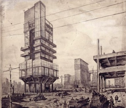 "Lev Rudnev's ""City of the Future"" (1925), before his turn to Stalinist neo-Classicism"
