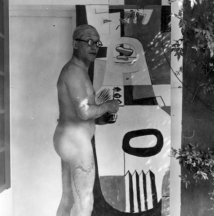 Le Corbusier painting in the nude at Eileen Gray's Villa E-1027