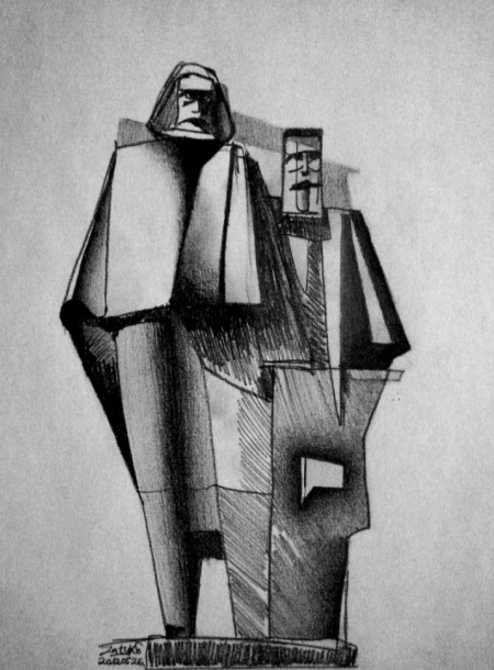 Sketch, György Segesdi | Marx — Engels (1971). Boedapest | Budapest | Будапешт. Granit from Mauthausen, 1971. Original location: V. Jászai Mari tér.