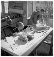 Le Corbusier working with an assistant in modeling his Palace of the Soviets proposal (1930)