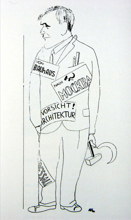 Red-baiting political cartoon depicting Bauhaus Dessau director Hannes Meyer being shipped off to the Soviet Union (1930)