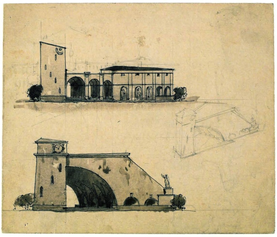 G Gol'ts, Nikolai Ladovskii's workshop, architectural and spatial design of the entrance to Nikitskii boulevard in Moscow, 1920-1921