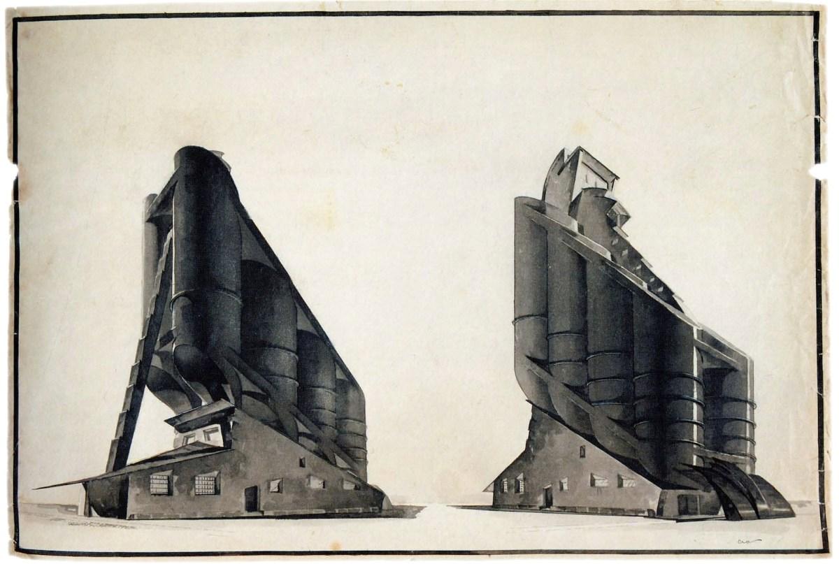 G Vegman, Nikolai Ladovskii's workshop, grain elevator, revelation and expression of form, 1922
