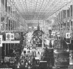 Black and white rendering of the interior to Paxton's 1851 Crystal Palace at Hyde Park