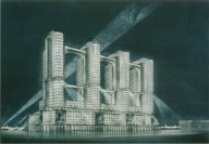Vesnin brothers' Narkomtiazhprom proposal for Moscow, 1933-1934