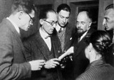 Le Corbusier in Moscow, with Andrei Burov and Aleksandr Vesnin (1928)