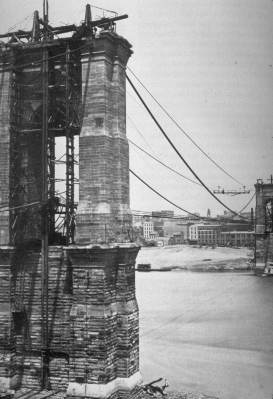 Brooklyn Bridge during construction (1874)