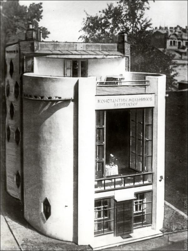 Mel'nikov house upon completion, photographed here in 1930