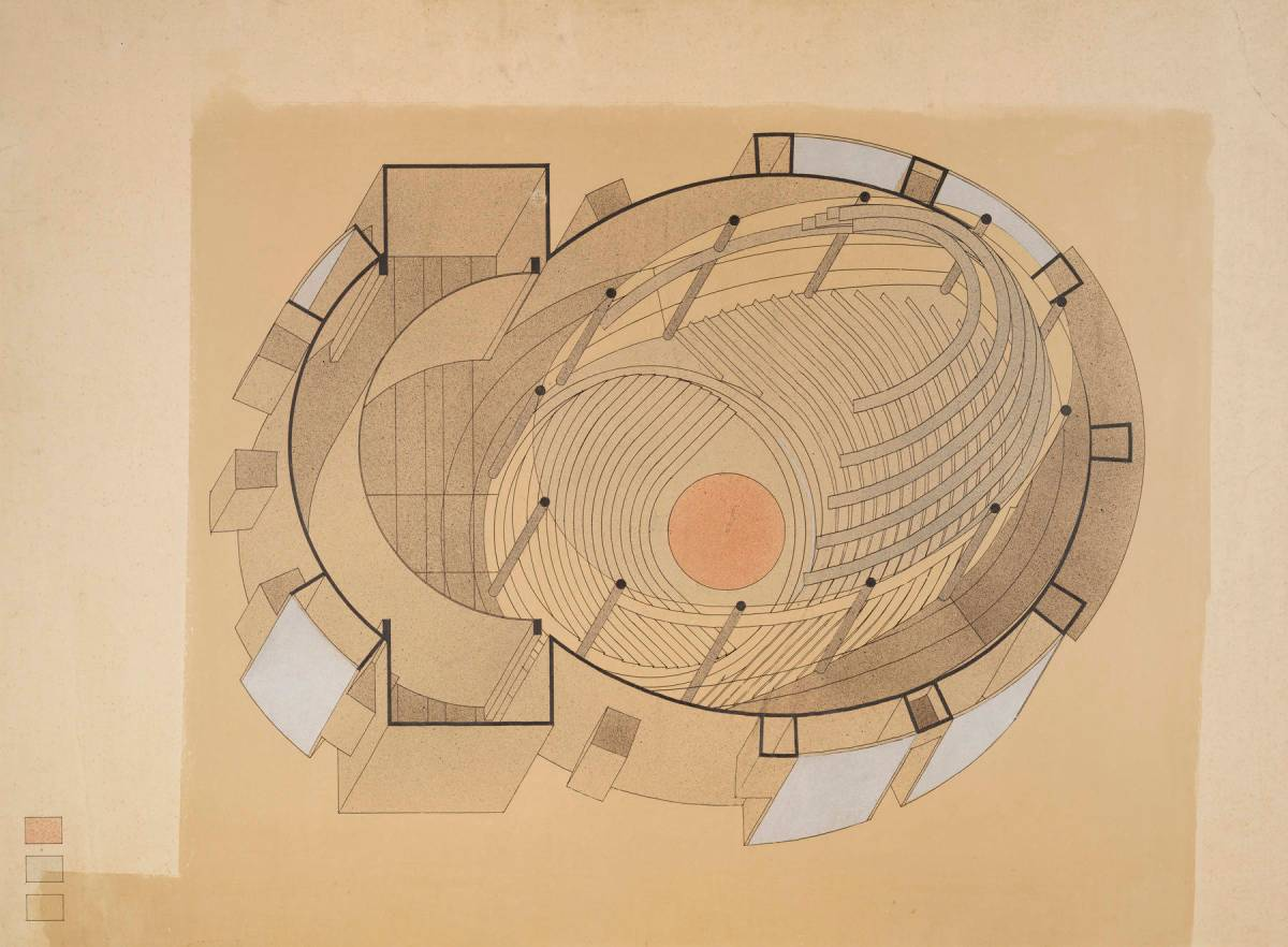 Design for a total theater by Walter Gropius (1926).