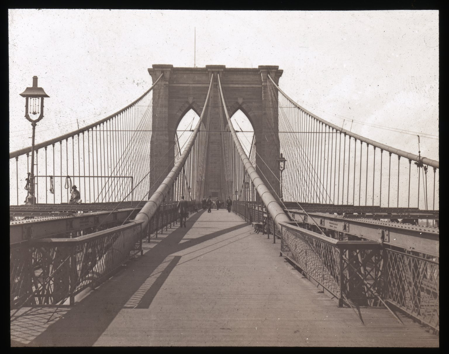 Brooklyn tower; from foot way. Collection- Lantern Slide Collection Views- U.S., Brooklyn Brooklyn Bridge 1896-1900