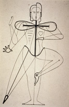 Oskar Schlemmer, sketch of figural movement for dance (1921).