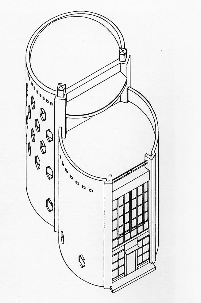 Konstantin Mel'nikov, advanced rendering of the exterior featuring interlocking uneven cylinders (1927)