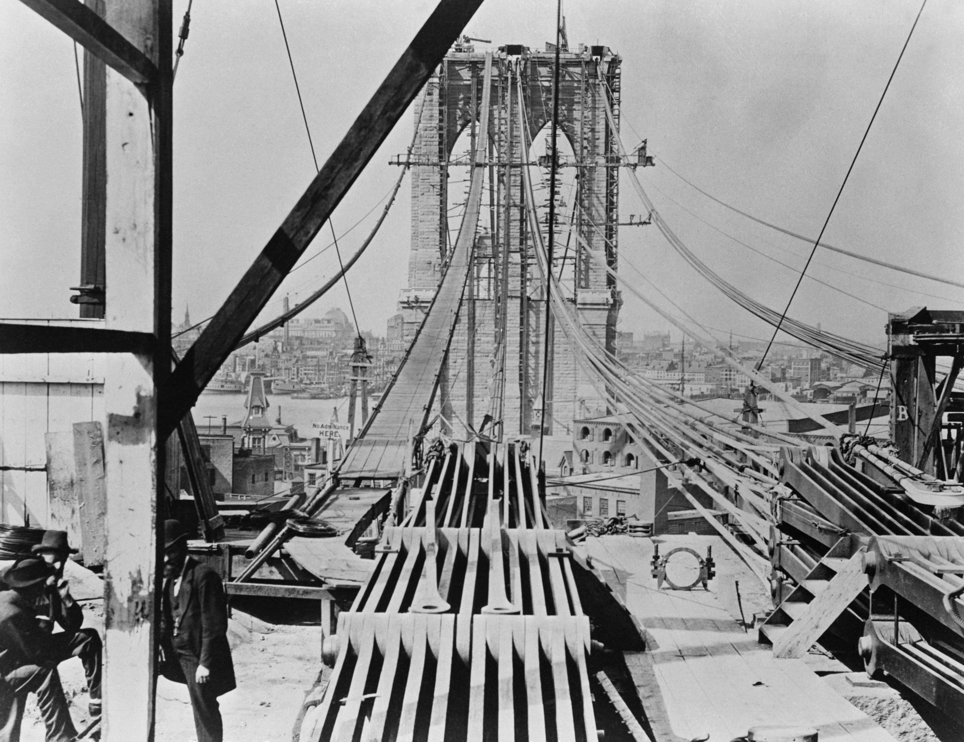 Brooklyn Bridge during construction (1877)