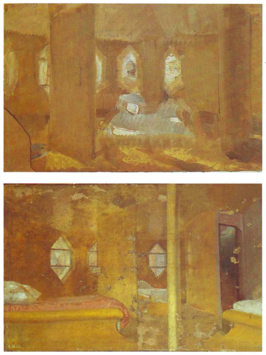 Konstantin Mel'nikov, paintings of the bedroom in icon-like gold (1929)