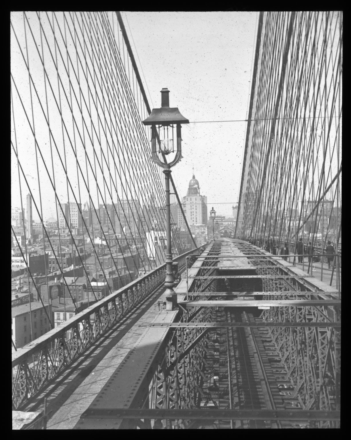Looking to New York from Brooklyn Tower. Collection- Lantern Slide Collection Views- U.S., Brooklyn Brooklyn Bridge 1896-1900