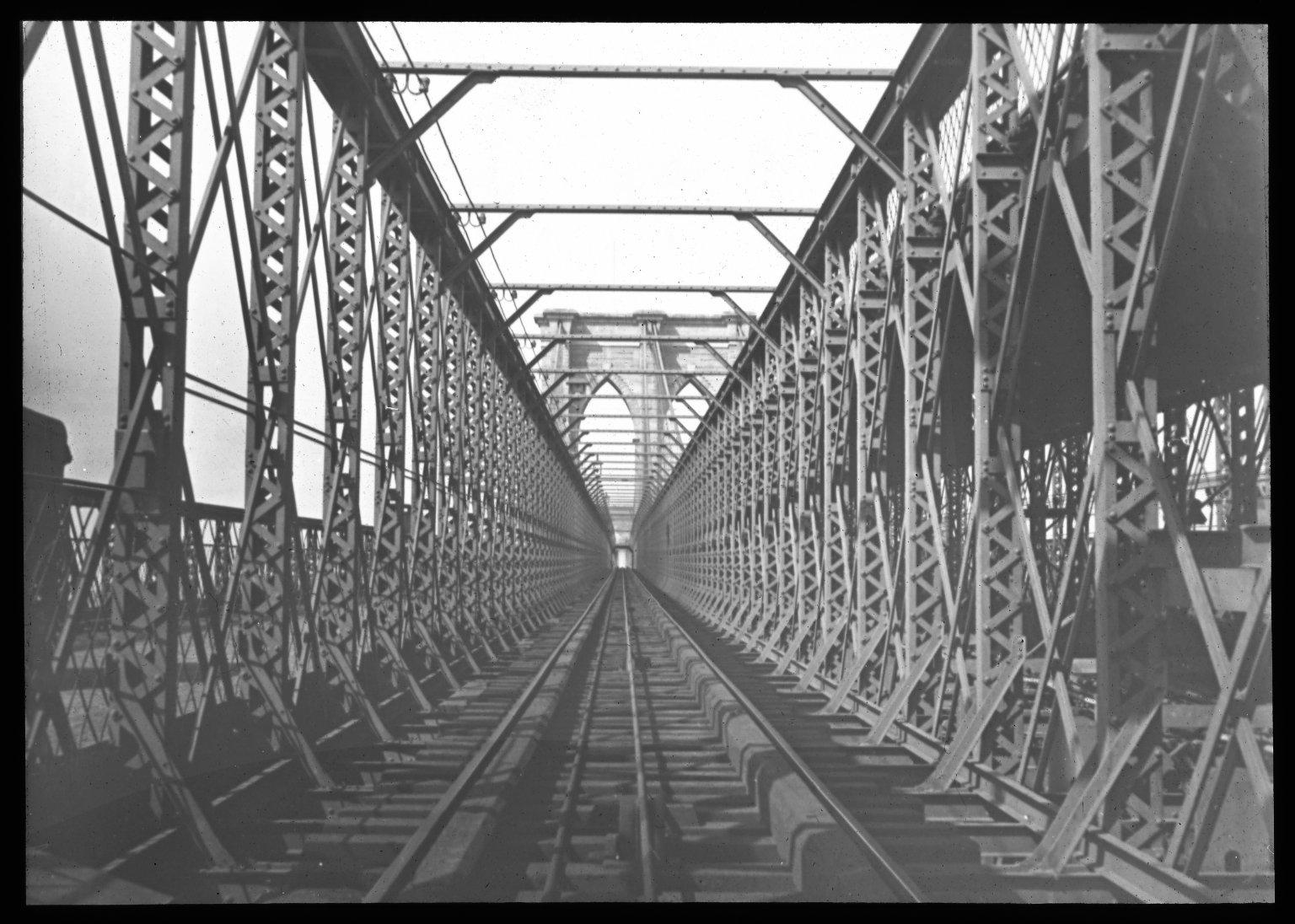 Looking up the railway; from Brooklyn Tower. Collection- Lantern Slide Collection Views- U.S., Brooklyn Brooklyn Bridge 1896-1900