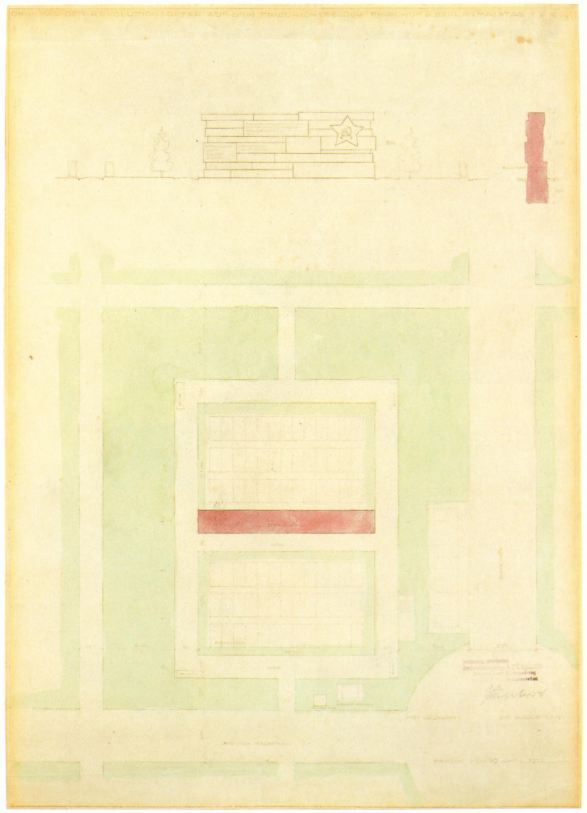 Site-plan, section, and elevation for Mies' monument (1926)